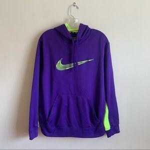 Nike Purple Neon Green Hoodie Thermal Fit